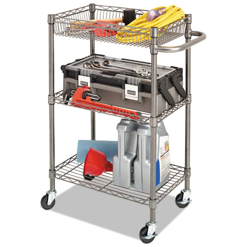 Three-Tier Wire Cart with Basket, 28w x 16d x 39h, Black Anthracite. Picture 11