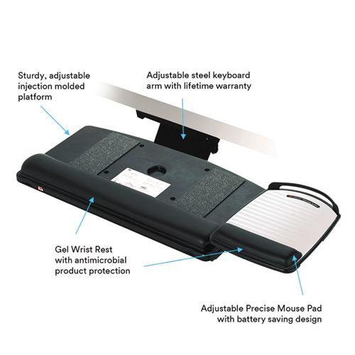 """Easy Adjust Keyboard Tray, Highly Adjustable Platform, 23"""" Track, Black. Picture 4"""