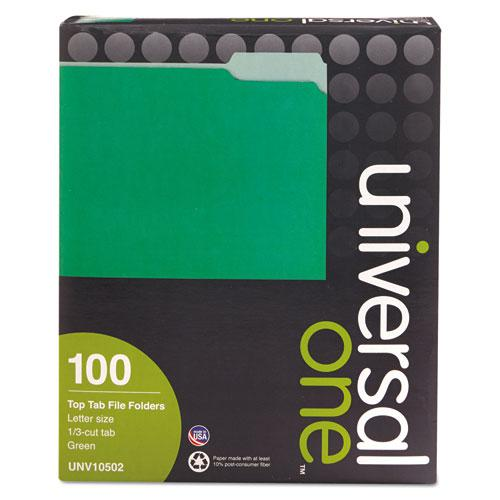 Deluxe Colored Top Tab File Folders, 1/3-Cut Tabs, Letter Size, Green/Light Green, 100/Box. Picture 3