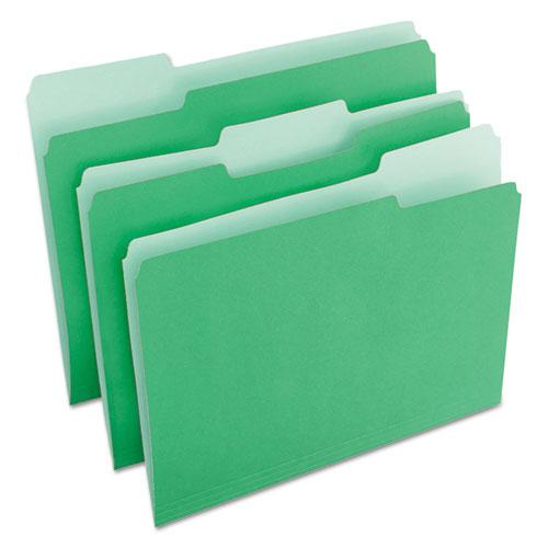 Deluxe Colored Top Tab File Folders, 1/3-Cut Tabs, Letter Size, Green/Light Green, 100/Box. Picture 2