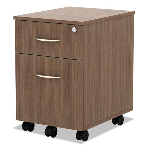 Alera Valencia Series Mobile Box/File Pedestal, 15.88w x 19.13d x 22.88h, Walnut. Picture 2