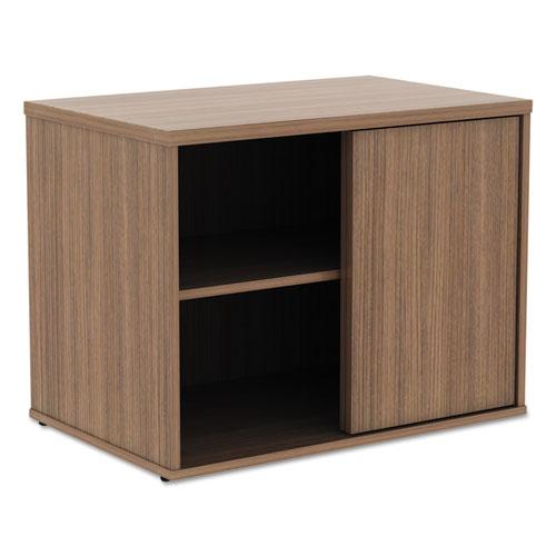 Alera Open Office Low Storage Cabinet Credenza, 29 1/2 x 19 1/8x 22 7/8, Walnut. Picture 1