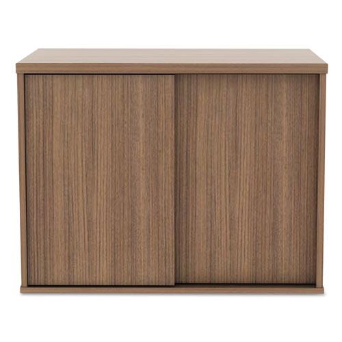 Alera Open Office Low Storage Cabinet Credenza, 29 1/2 x 19 1/8x 22 7/8, Walnut. Picture 8