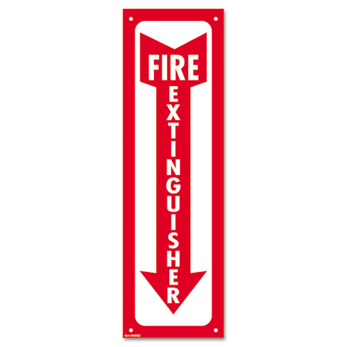 Glow-In-The-Dark Safety Sign, Fire Extinguisher, 4 x 13, Red. Picture 1