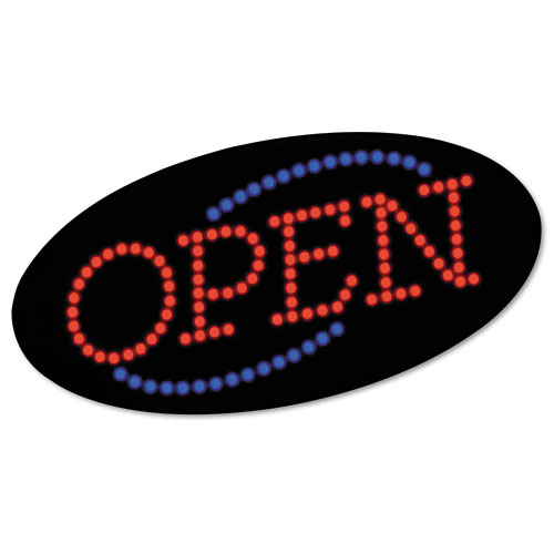 "LED OPEN Sign, 10 1/2: x 20 1/8"", Red and Blue Graphics. Picture 1"
