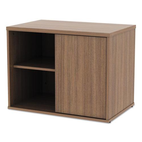 Alera Open Office Low Storage Cabinet Credenza, 29 1/2 x 19 1/8x 22 7/8, Walnut. Picture 6