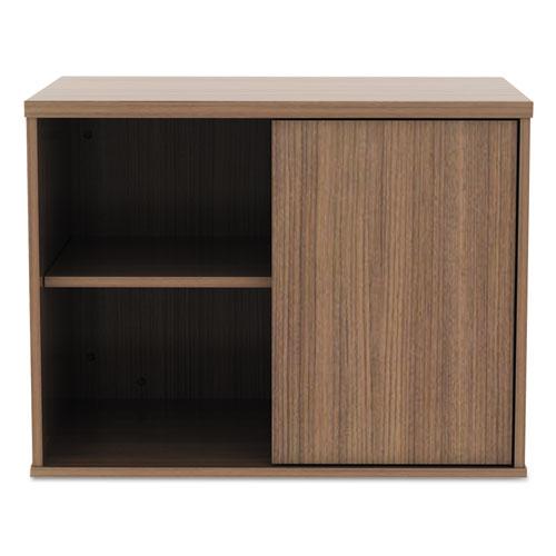Alera Open Office Low Storage Cabinet Credenza, 29 1/2 x 19 1/8x 22 7/8, Walnut. Picture 2