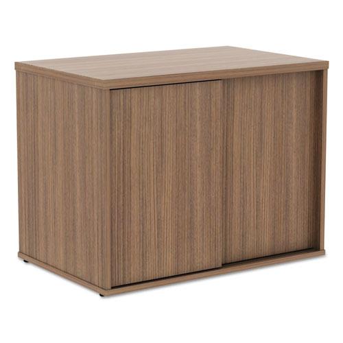 Alera Open Office Low Storage Cabinet Credenza, 29 1/2 x 19 1/8x 22 7/8, Walnut. Picture 9