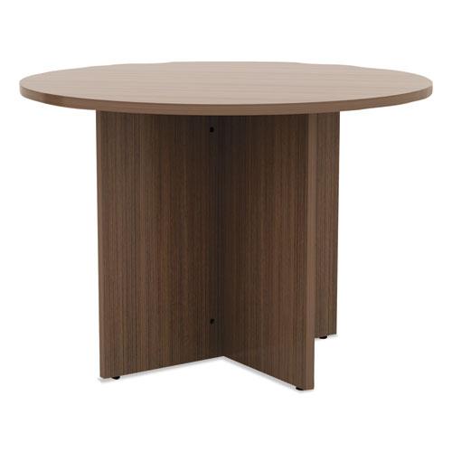 Alera Valencia Round Conference Table w/Legs, 29 1/2h x 42 dia., Modern Walnut. Picture 1