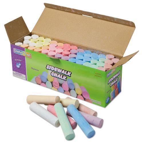 Sidewalk Chalk, 4 x 1 Dia. Jumbo Stick, 12 Assorted Colors, 52/Set. Picture 1
