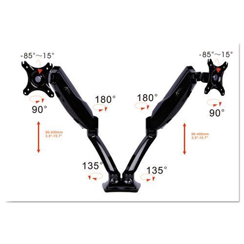 "AdaptivErgo Articulating Dual Monitor Arm for 30"" Monitors, 180 deg Rotation, 30 deg Tilt, 135 deg Pan, Black, Supports 12 lb. Picture 3"