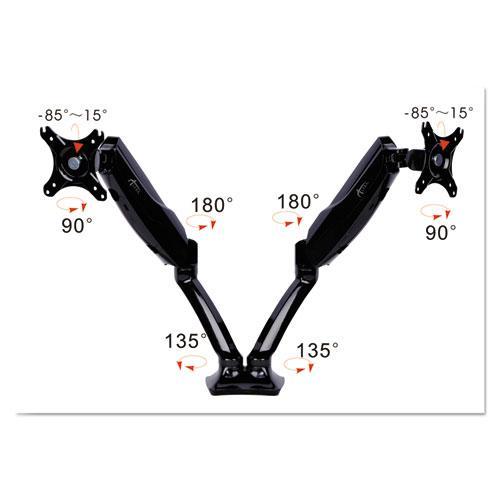 "AdaptivErgo Articulating Dual Monitor Arm for 30"" Monitors, 180 deg Rotation, 30 deg Tilt, 135 deg Pan, Black, Supports 12 lb. Picture 4"