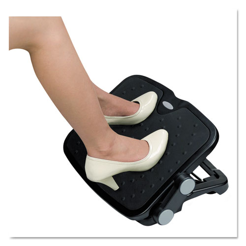 Soft Cushioned Ergonomic Footrest, 14w x 19.63d x 3.75 to 7.5h, Black. Picture 2