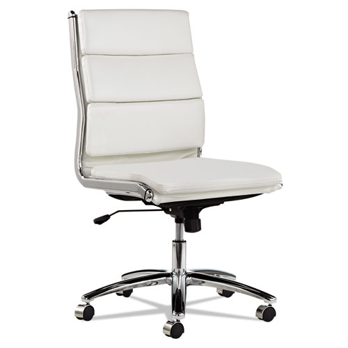 Alera Neratoli Mid-Back Slim Profile Chair, Supports up to 275 lbs, White Seat/White Back, Chrome Base. Picture 3