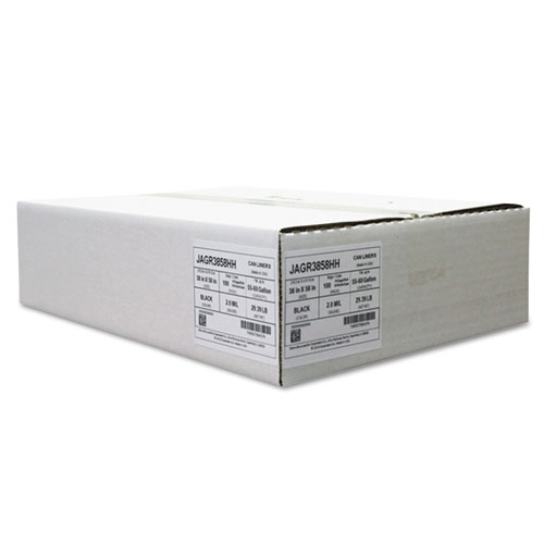 Repro Low-Density Can Liners, 2 Mil, 38 x 58, Black, 10 Bags/Roll, 10 Rolls/CT. Picture 1