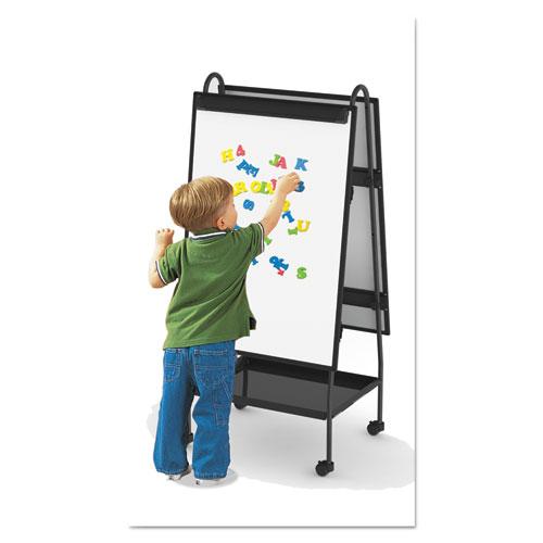 Creation Station Dry Erase Board, 29 1/2 x 74 7/8, Black Frame. Picture 2