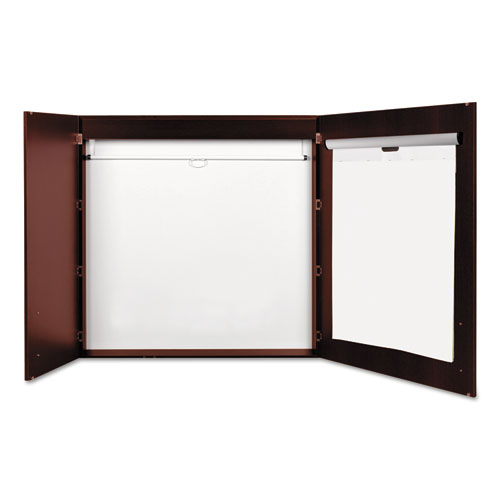 Conference Cabinet, Porcelain Magnetic, Dry Erase, 48 x 48, Cherry. Picture 2