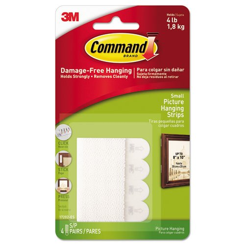 """Picture Hanging Strips, Removable, 0.63"""" x 2.13"""", White, 4 Pairs/Pack. Picture 1"""