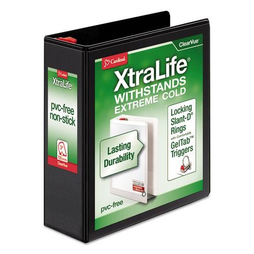 """XtraLife ClearVue Non-Stick Locking Slant-D Ring Binder, 3 Rings, 3"""" Capacity, 11 x 8.5, Black. Picture 1"""