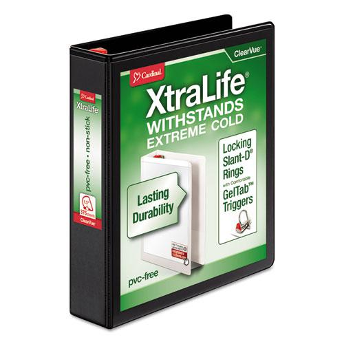 """XtraLife ClearVue Non-Stick Locking Slant-D Ring Binder, 3 Rings, 1.5"""" Capacity, 11 x 8.5, Black. Picture 1"""
