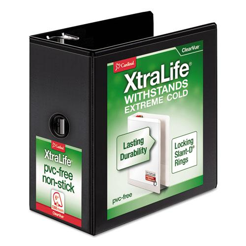 "XtraLife ClearVue Non-Stick Locking Slant-D Ring Binder, 3 Rings, 6"" Capacity, 11 x 8.5, Black. Picture 1"