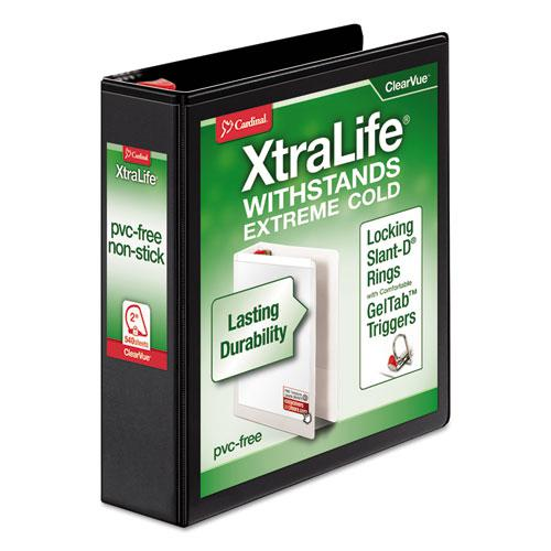 """XtraLife ClearVue Non-Stick Locking Slant-D Ring Binder, 3 Rings, 2"""" Capacity, 11 x 8.5, Black. Picture 1"""