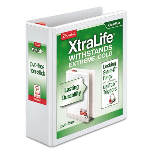 "XtraLife ClearVue Non-Stick Locking Slant-D Ring Binder, 3 Rings, 3"" Capacity, 11 x 8.5, White. Picture 1"