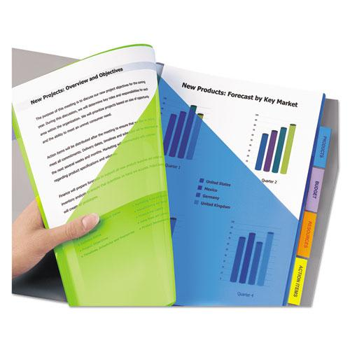 Insertable Big Tab Plastic 2-Pocket Dividers, 5-Tab, 11.13 x 9.25, Assorted, 1 Set. Picture 7