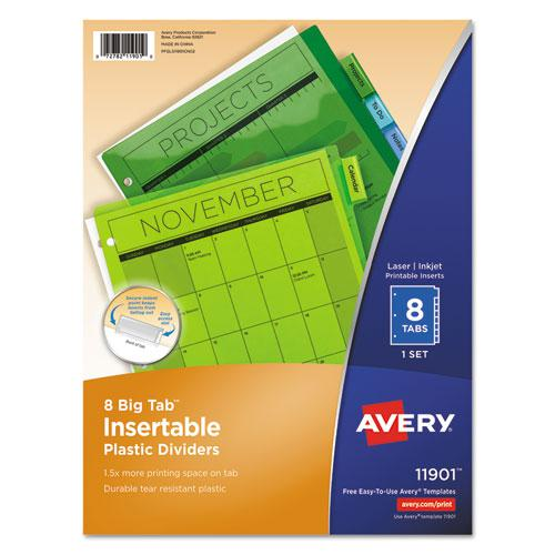 Insertable Big Tab Plastic Dividers, 8-Tab, 11 x 8.5, Assorted, 1 Set. Picture 1