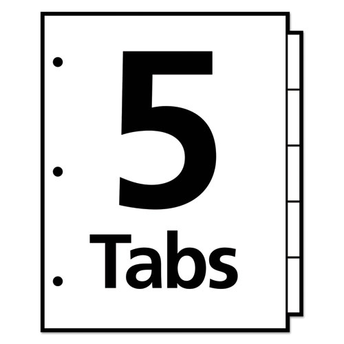 Write and Erase Big Tab Paper Dividers, 5-Tab, White, Letter. Picture 2