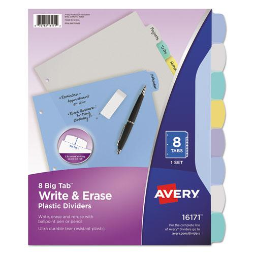Write and Erase Big Tab Durable Plastic Dividers, 3-Hold Punched, 8-Tab, 11 x 8.5, Assorted, 1 Set. Picture 1