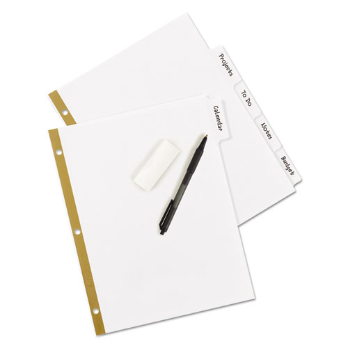 Write and Erase Big Tab Paper Dividers, 5-Tab, White, Letter. Picture 4