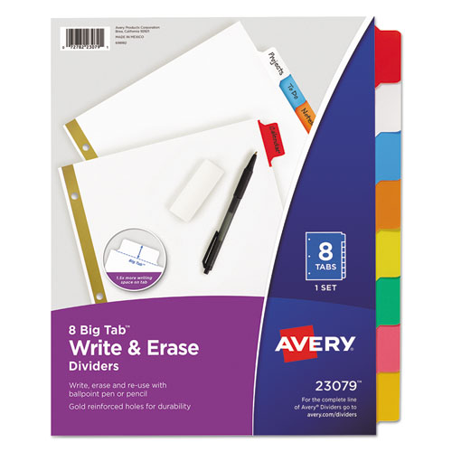 Write and Erase Big Tab Paper Dividers, 8-Tab, Multicolor, Letter. Picture 1