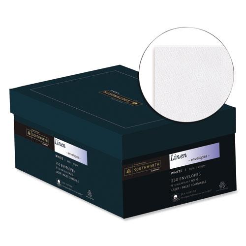 25% Cotton Linen #10 Envelope, Commercial Flap, Gummed Closure, 4.13 x 9.5, White, 250/Box. Picture 2