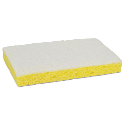 Light-Duty Scrubbing Sponge, #63, 3 1/2 x 5 5/8, Yellow/White. Picture 4