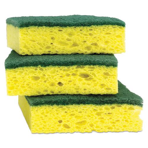 Heavy-Duty Scrub Sponge, 4 1/2 x 2 7/10 x 3/5 Green/Yellow, 3/Pack. Picture 9