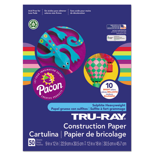 Tru-Ray Construction Paper, 76lb, 9 x 12, Assorted Bright Colors, 50/Pack. Picture 1