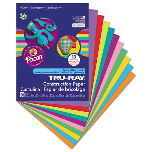 Tru-Ray Construction Paper, 76lb, 9 x 12, Assorted Bright Colors, 50/Pack. Picture 2