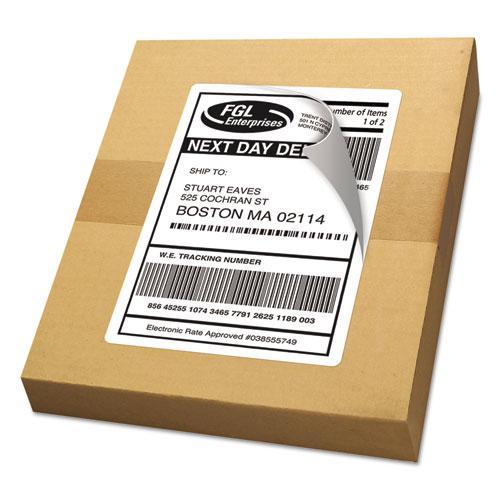 Shipping Labels w/ TrueBlock Technology, Laser Printers, 5.5 x 8.5, White, 2/Sheet, 100 Sheets/Box. Picture 3