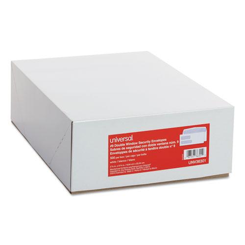 Double Window Business Envelope, #9,  Blade Flap, Gummed Closure, 3.88 x 8.88, White, 500/Box. Picture 2