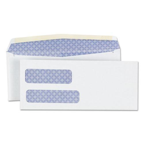 Double Window Business Envelope, #9,  Blade Flap, Gummed Closure, 3.88 x 8.88, White, 500/Box. Picture 1