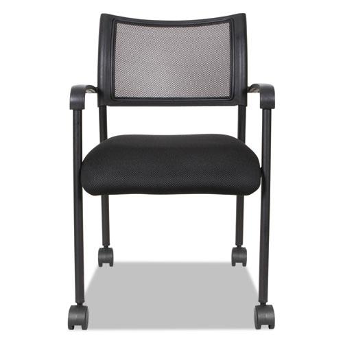 Alera Eikon Series Stacking Mesh Guest Chair, Black Seat/Black Back, Black Base, 2/Carton. Picture 6