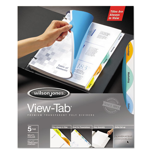 Round View-Tab Transparent Index Dividers, 5-Tab, 11 x 8.5, Assorted, 1 Set. Picture 1