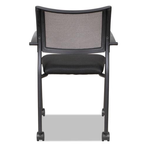 Alera Eikon Series Stacking Mesh Guest Chair, Black Seat/Black Back, Black Base, 2/Carton. Picture 7