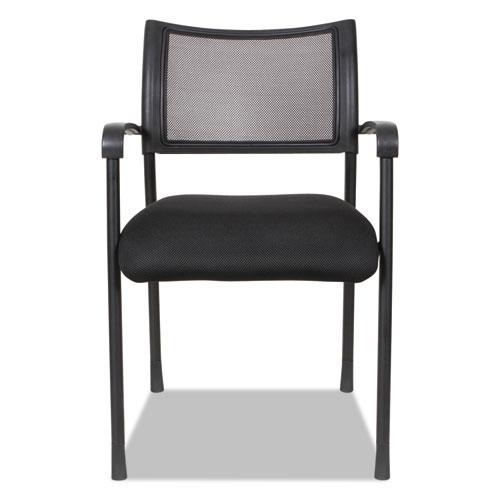 Alera Eikon Series Stacking Mesh Guest Chair, Black Seat/Black Back, Black Base, 2/Carton. Picture 15