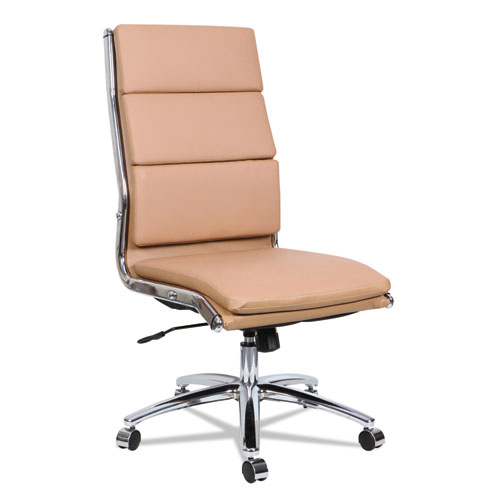 Alera Neratoli High-Back Slim Profile Chair, Supports up to 275 lbs, Camel Seat/Camel Back, Chrome Base. Picture 2