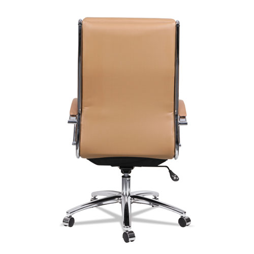 Alera Neratoli High-Back Slim Profile Chair, Supports up to 275 lbs, Camel Seat/Camel Back, Chrome Base. Picture 3