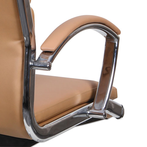 Alera Neratoli High-Back Slim Profile Chair, Supports up to 275 lbs, Camel Seat/Camel Back, Chrome Base. Picture 4