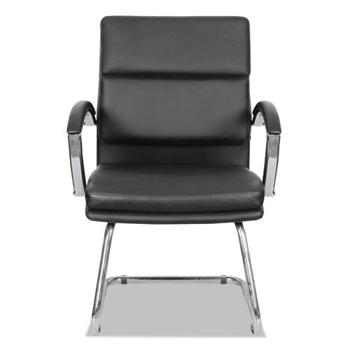 Alera Neratoli Slim Profile Guest Chair, 23.81'' x 27.16'' x 36.61'', Black Seat/Black Back, Chrome Base. Picture 4