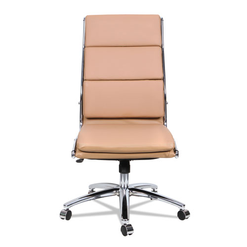 Alera Neratoli High-Back Slim Profile Chair, Supports up to 275 lbs, Camel Seat/Camel Back, Chrome Base. Picture 7